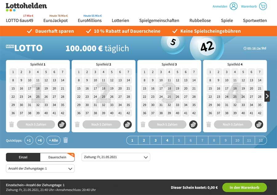 Mini Lotto Spielschein